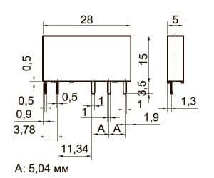 Габаритные размер ультратонких промежуточных реле KIPPRIBOR серии SR
